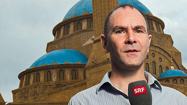 SRF-Nahostkorrespondent Philipp Scholkmann vor der Mohammed-al-Amin-Moschee im Zentrum der libanesischen Hauptstadt Beirut.