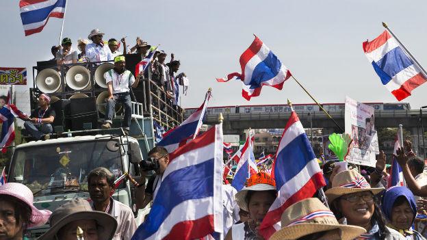 Die Zahl der Protestierenden in Thailand geht zurück.
