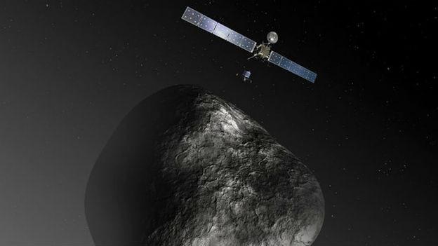 Rosetta und der Komet Tschuri (Visualisierung).
