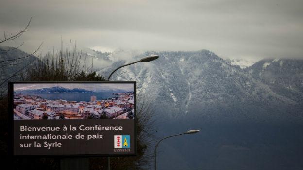Begrüssungstafel in Montreux.