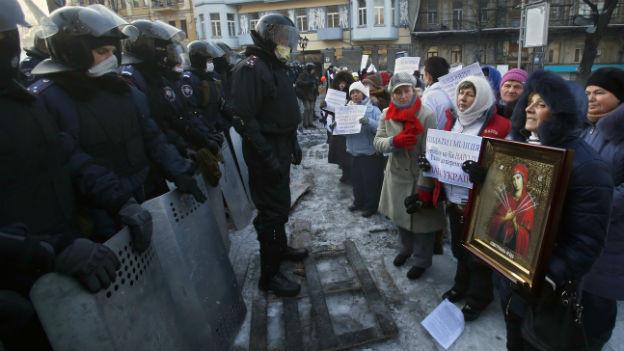 Die Proteste der Opposition in Kiew dauern an.