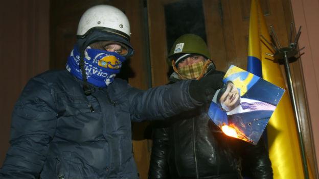 Demonstranten im besetzten Justizministerium in Kiew.