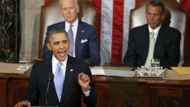 US-Präsident Barack Obama bei seiner Rede vor dem Kongress.