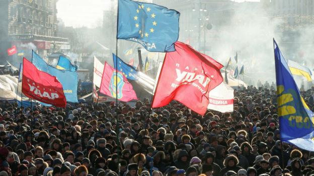 Die Proteste der Regierungsgegner auf dem Majdan in Kiew.