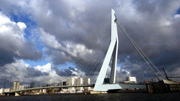 Sicht auf Erasmusbrücke in Rotterdam.
