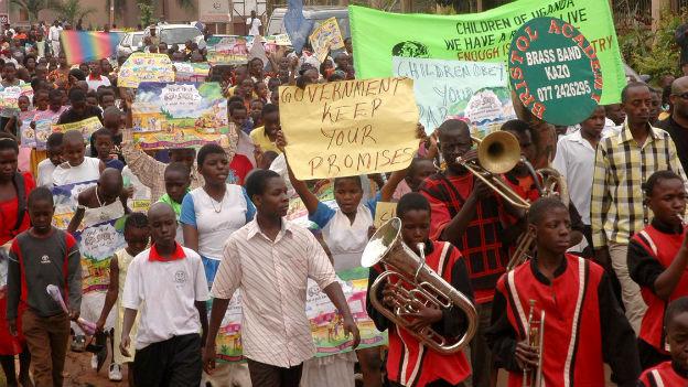 Demonstration gegen Homosexualität in Uganda.
