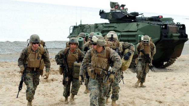 US-Militärs an einer Übung zusammen mit dem koreanischen Militär in Pohang.