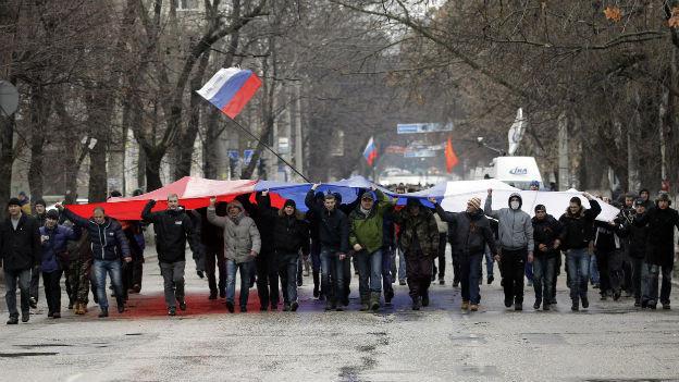 Pro-Russische Proteste in Simferopol, Hauptstadt der Krim.