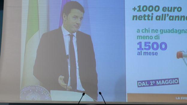 Matteo Renzi bei der Ankündigung seiner Wirtschaftsreformen.