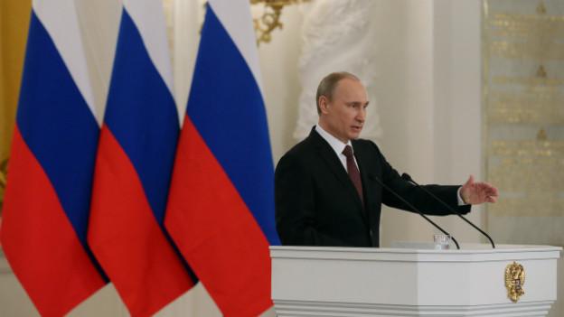 Präsident Putin bei seiner Rede zur Krim im Parlament.