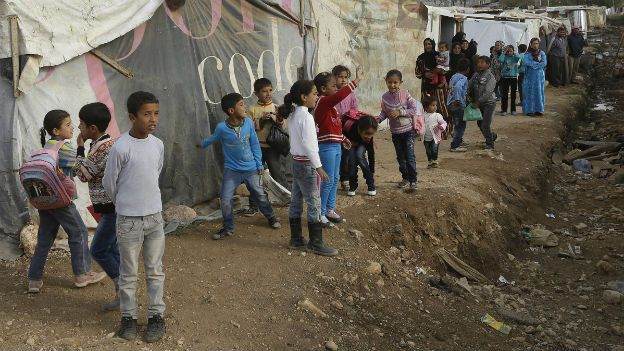 Syrische Flüchtlinge in einem Lager in der Bekaa-Ebene im Norden Libanons (Nov. 2013).