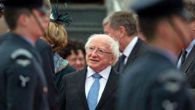 Der irische Präsident Michael D. Higgins bei seiner Ankunft in London.