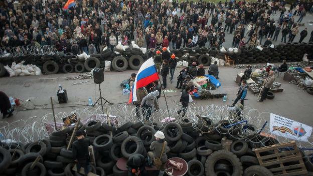 Prorussische Aktivisten im Osten der Ukraine.