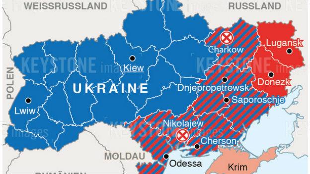 Karte mit pro-ukrainischen und pro-russischen Gebieten und Orten mit Ausschreitungen