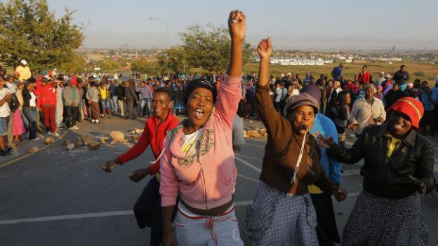 Proteste in Johannesburg (April 2014).