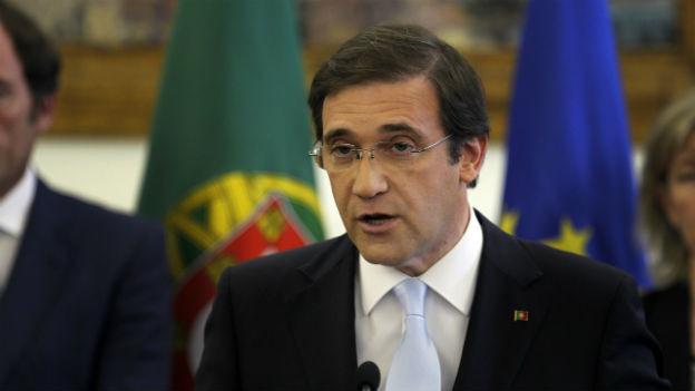 Der Portugiesische Regierungschef Passos Coelho bei seiner Ansprache am Regierungssitz in Lissabon.