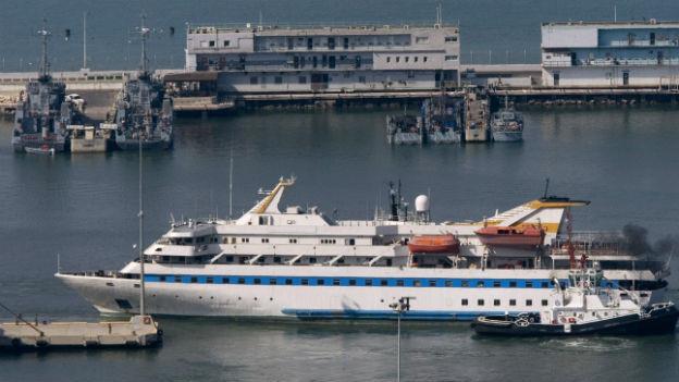 Schiff Mavi Marmara im Hafen.