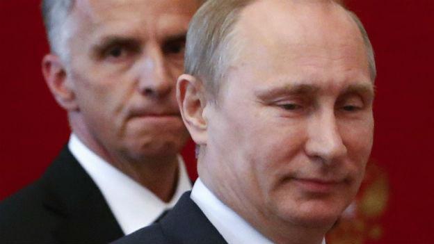 Putin und Burkhalter nach ihrem Treffen.