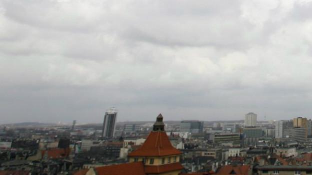 Die Hausdächer der polnischen Stadt Katowice aus der Vogelperspektive.
