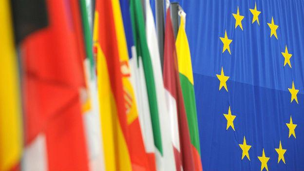 EU-Flagge und Länderflaggen.
