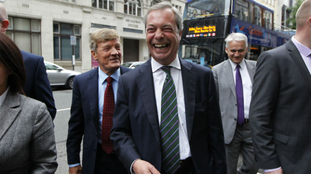 Nigel Farage von Ukip am Tag nach den Europawahlen in London.