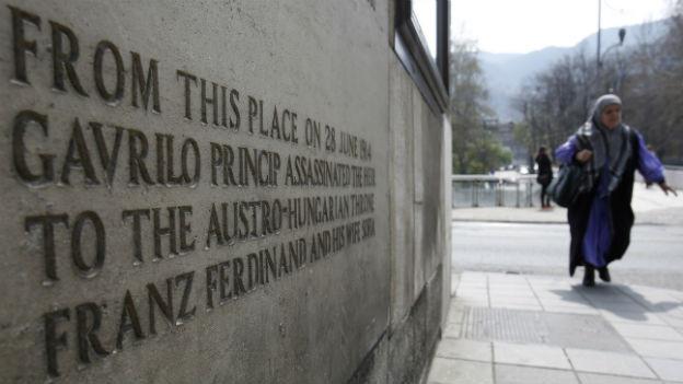 Gedenktafel in Sarajewo – hier geschah am 28. Juni 1914 das Attentat auf Franz Ferdinand.