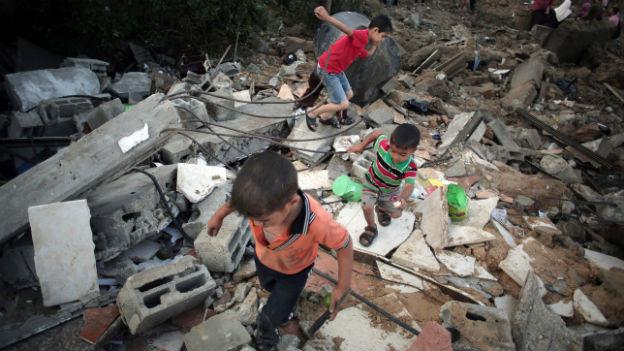 Zerstörung in Beit Hanoun (9.7.2014).