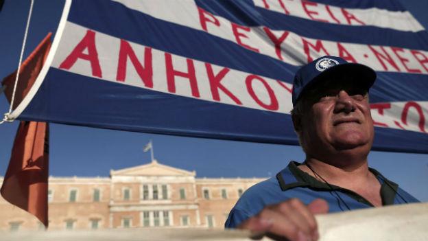 Streik und Protest griechischer Staatsangestellten (9.7.2014).