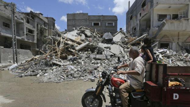 Spuren des Krieges: Bombardierte Häuser im Gazastreifen