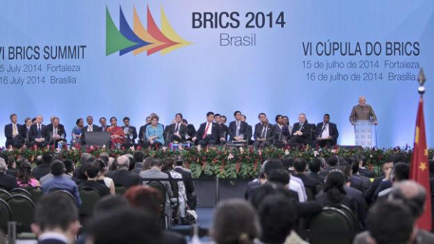 Am Treffen der BRICS-Staaten in Brasilien spricht der indische Premierminister Narendra Modi.