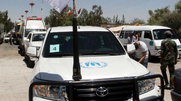UNO-Hilfskonvois unterwegs in Syrien, in der Nähe von Damaskus.