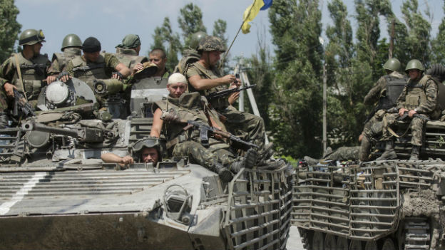 Panzer der ukrainischen Armee bei Donezk.