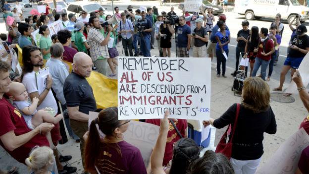 Demonstration zur Unterstützung von MigrantInnen in den USA.