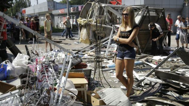 Zerstörung in der ukrainischen Stadt Donetsk.
