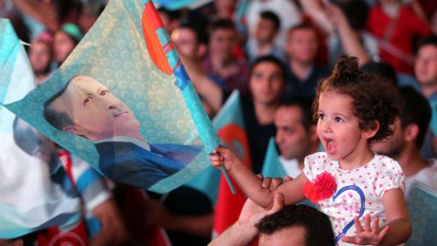 AKP-Anhänger feiern den Wahlsieg von Recep Tayyip Erdogan.