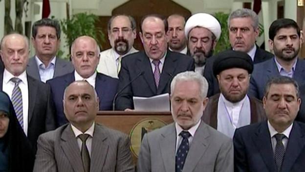 Nuri al-Maliki bei seiner Rücktrittsankündigung am TV.