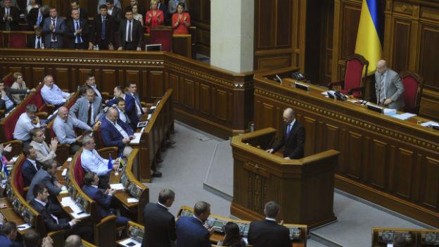 Das ukrainische Parlament, Wechowna Rada (Oberster Rat) in einer Aufnahme vom Juli.