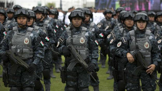 Angehörige der neuen mexikanischen Polizeitruppe am 22. August bei der Vereidigung.