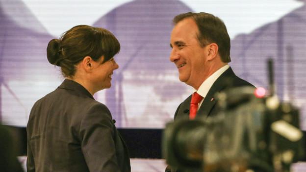 Schwedens neuer starker Mann, der Sozialdemokrat Stefan Lofven (rechts) zusammen mit der Grünen Asa Romson.