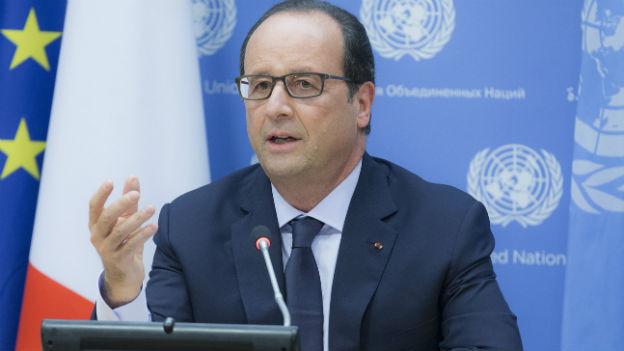 Der französische Präsident François Hollande spricht am Rande der UN-Vollversammlung über die Tötung der französischen Geisel durch Islamisten.