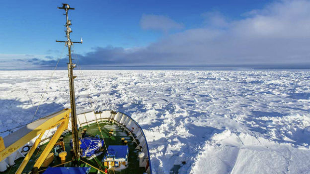 Ein russisches Forschungsschiff im Antarktiseis im Dezember 2013.