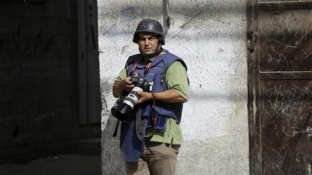 Foto-Journalist in Gaza-Stadt während des Krieges 2014.