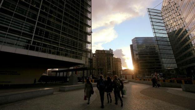 Zwischen den Verwaltungsgebäude im Brüsseler EU-Quartier.