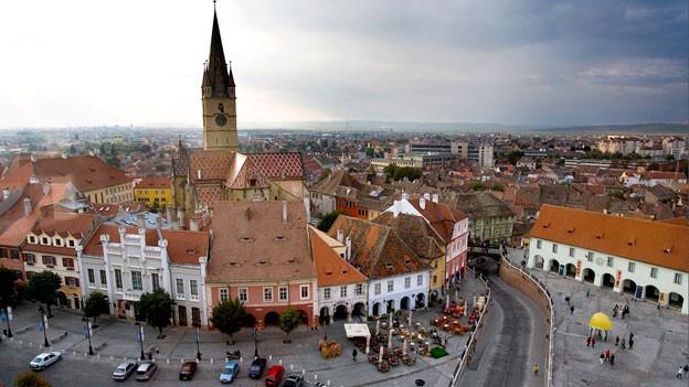 Blick auf Sibiu, Rumänien, 350 Kilometer nordwestlich von Bukarest. Die mittelalterliche Stadt Sibiu, auch Hermannstadt genannt, war 2007 Europäische Kulturhauptstadt.