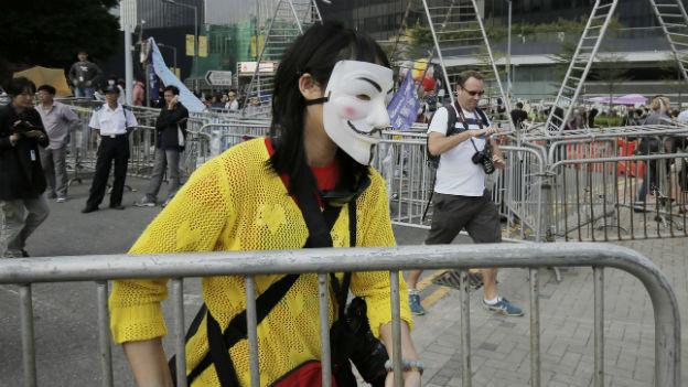 Demonstrantin in Hongkong.
