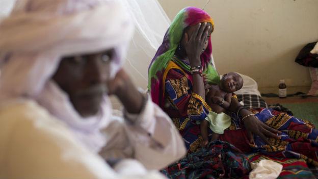 Blick in eine Klinik in der Region Mao in Tschad, wo unternernährte Menschen behandelt werden.