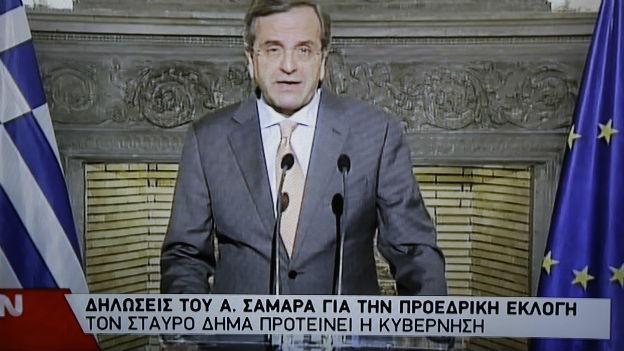 Der griechische Premier Samaras bei einem Fernsehauftritt.