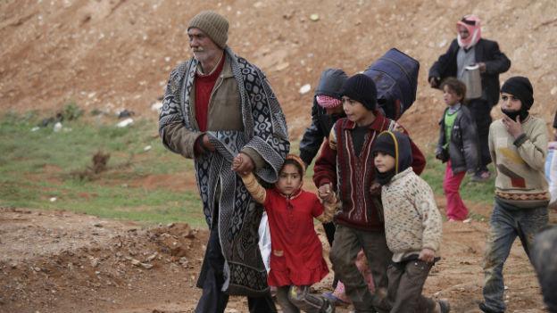 Syrische Flüchtlinge an der Grenze zu Jordanien.