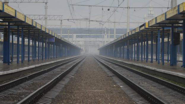 Ein leerer Bahnhof in Simferopol.