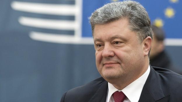Aufnahme des ukrainischen Präsidenten Poroschenko bei seiner Ankunft am EU-Gipfel in Brüssel.